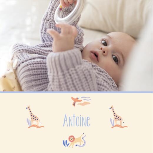 Faire-part de naissance Douce savane (4 pages) beige