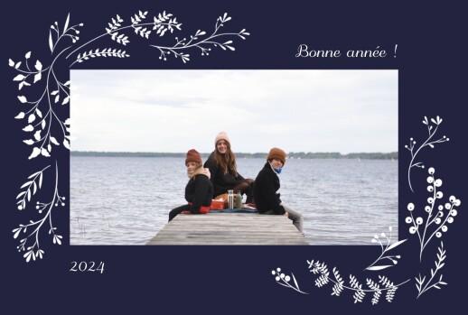 Carte de voeux Brins d'hiver (paysage) bleu