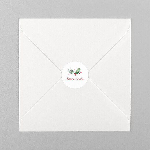 Stickers pour enveloppes vœux Houx d'hiver - Vue 1