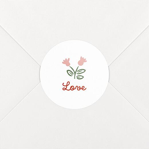 Stickers pour enveloppes naissance Mon premier liberty rouge - Vue 2