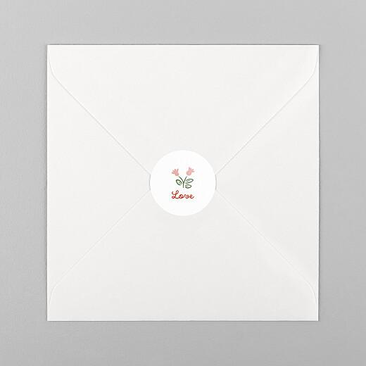 Stickers pour enveloppes naissance Mon premier liberty rouge - Vue 1