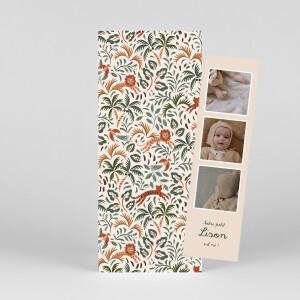 Faire-part de naissance Petite jungle (marque-page) beige