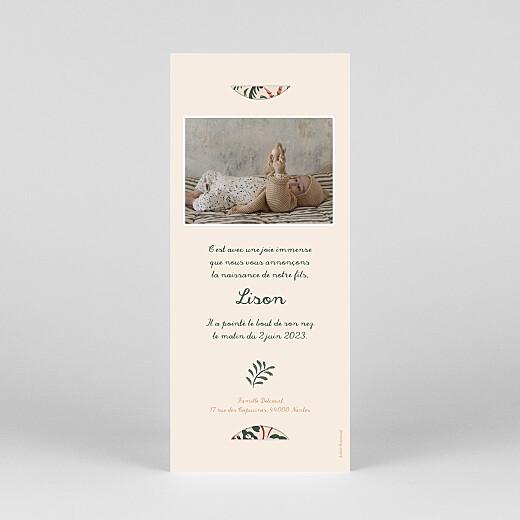 Faire-part de naissance Petite jungle (marque-page) beige - Vue 4