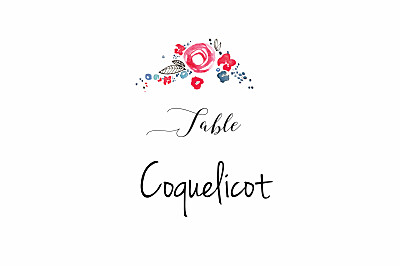 Marque-table mariage Romance blanc finition