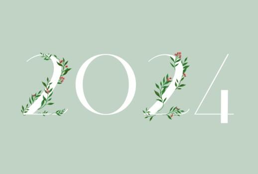 Carte de voeux Année fleurie 4 pages vert