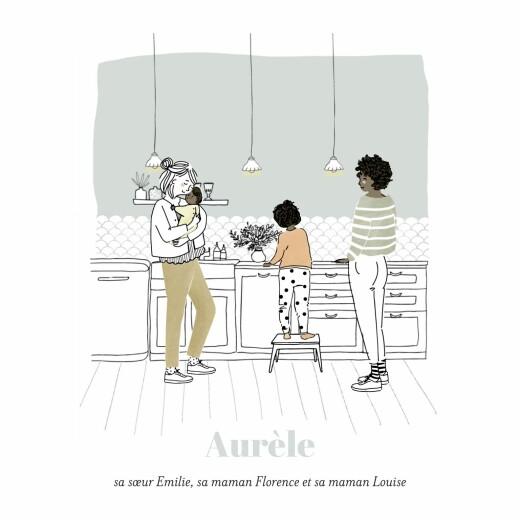 Faire-part de naissance Instant en famille (4 pages) blanc