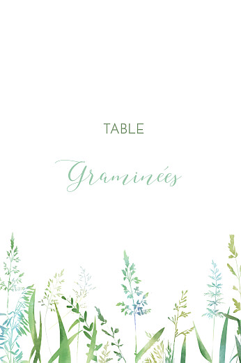 Marque-table mariage Les hautes herbes vert