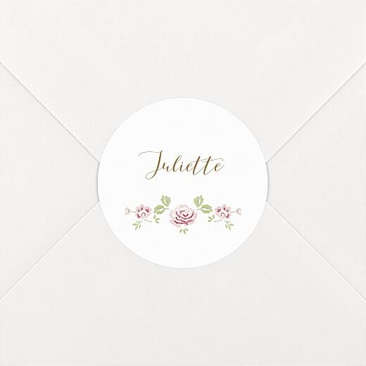 Stickers pour enveloppes baptême Couronne de roses blanc - Vue 2