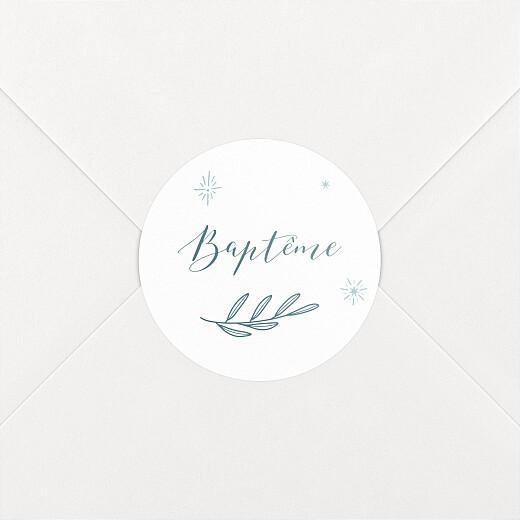 Stickers pour enveloppes baptême Douce colombe bleu - Vue 2