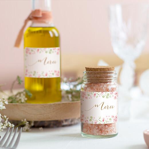 Étiquette autocollante baptême Couronne de roses blanc - Vue 1
