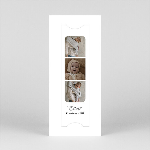 Faire-part de naissance Tendre innocence (marque-page) blanc - Vue 2