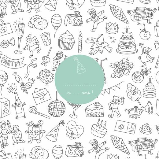 Carte d'anniversaire À colorier ! by omy blanc