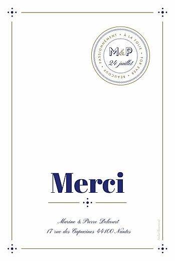 Carte de remerciement mariage Rétro bleu bronze - Page 2