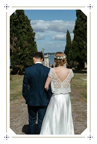 Carte de remerciement mariage Rétro bleu bronze finition