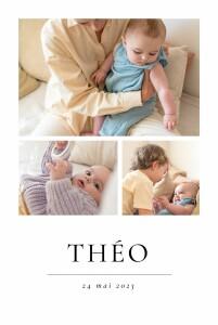Faire-part de naissance Précieux moments (4 photos) blanc