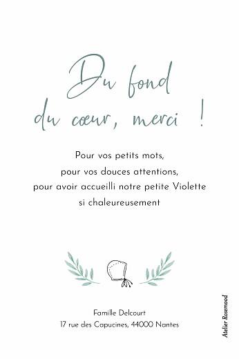 Carte de remerciement Couronne illustrée (portrait) bleu - Page 2