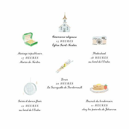 Faire-part de mariage Notre mariage illustré blanc - Page 2