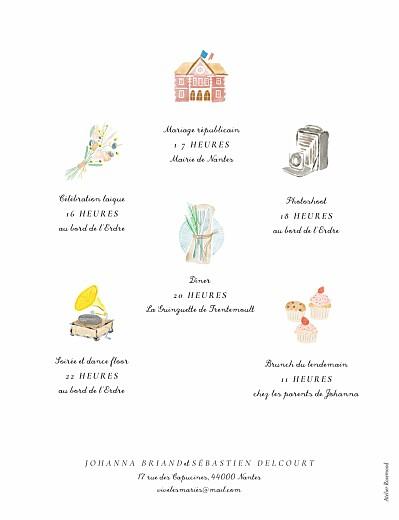 Faire-part de mariage Notre mariage illustré-blanc - Page 2