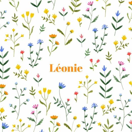 Faire-part de naissance Fleurs sauvages (4 pages) blanc