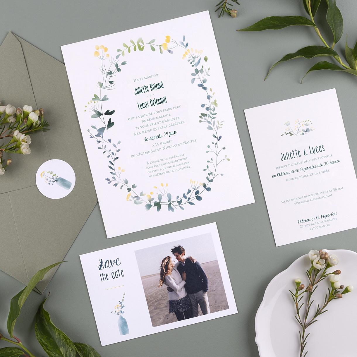 Faire-part de mariage bouquet sauvage (portrait)