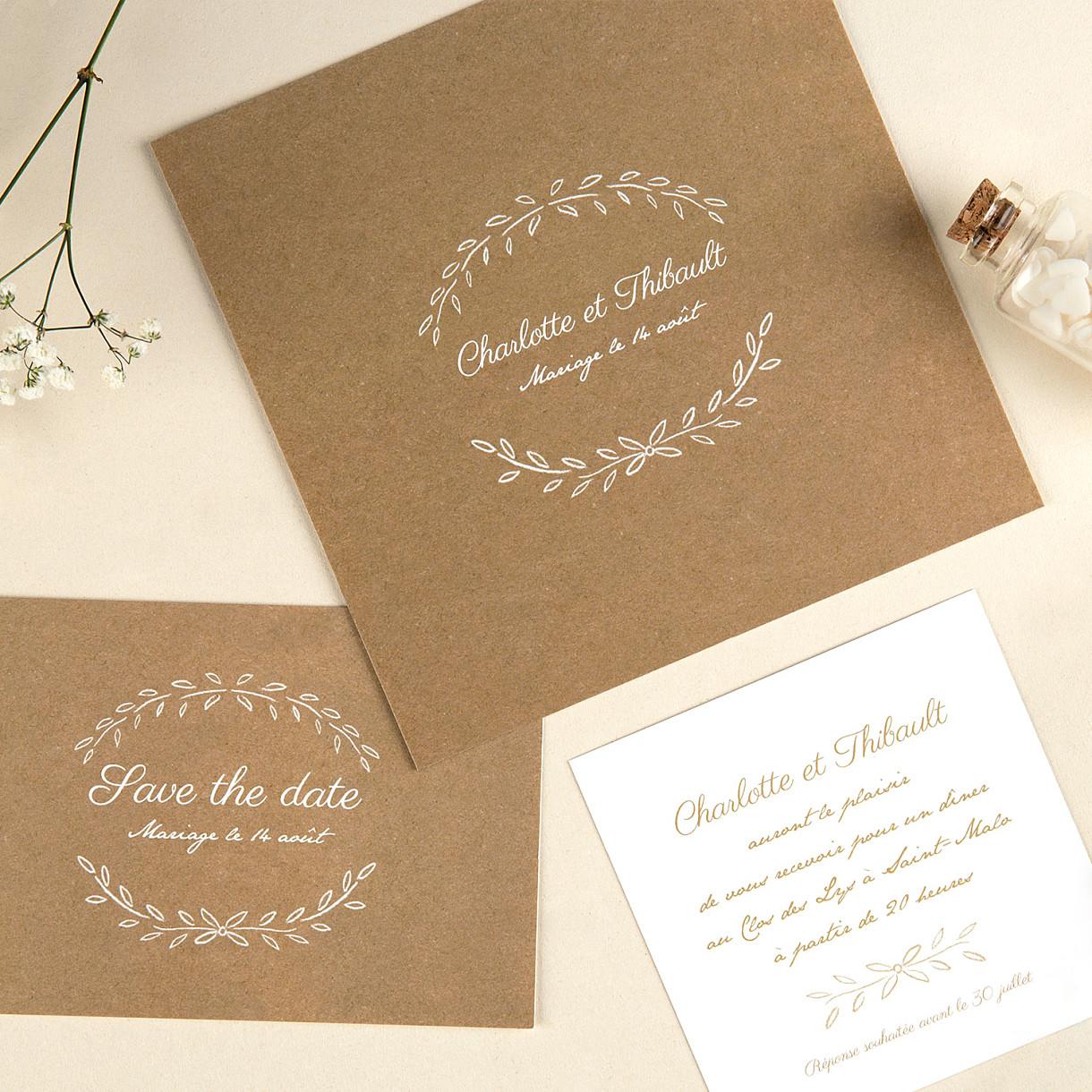 Carton d'invitation mariage poème (carré)