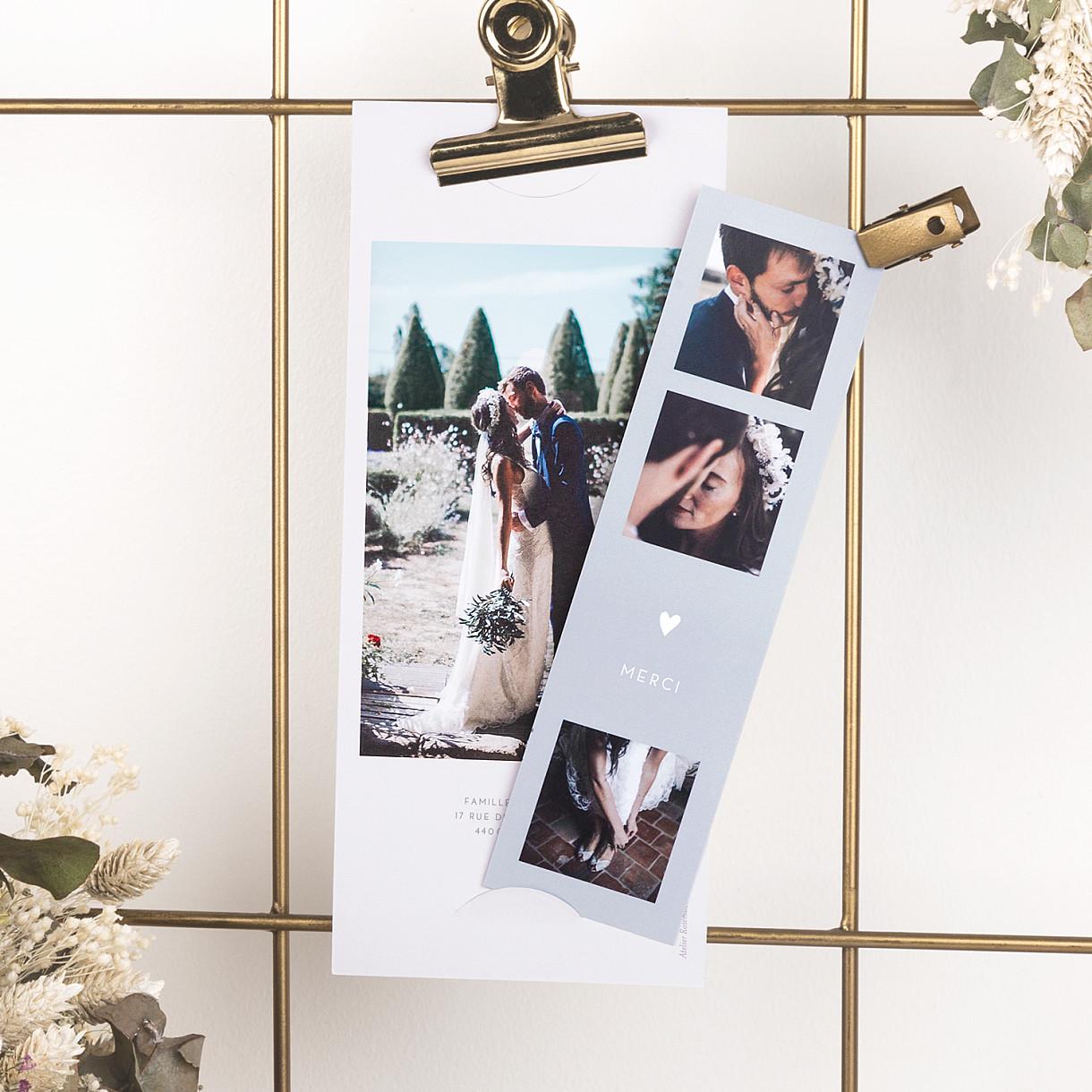 Carte de remerciement mariage elégant cœur