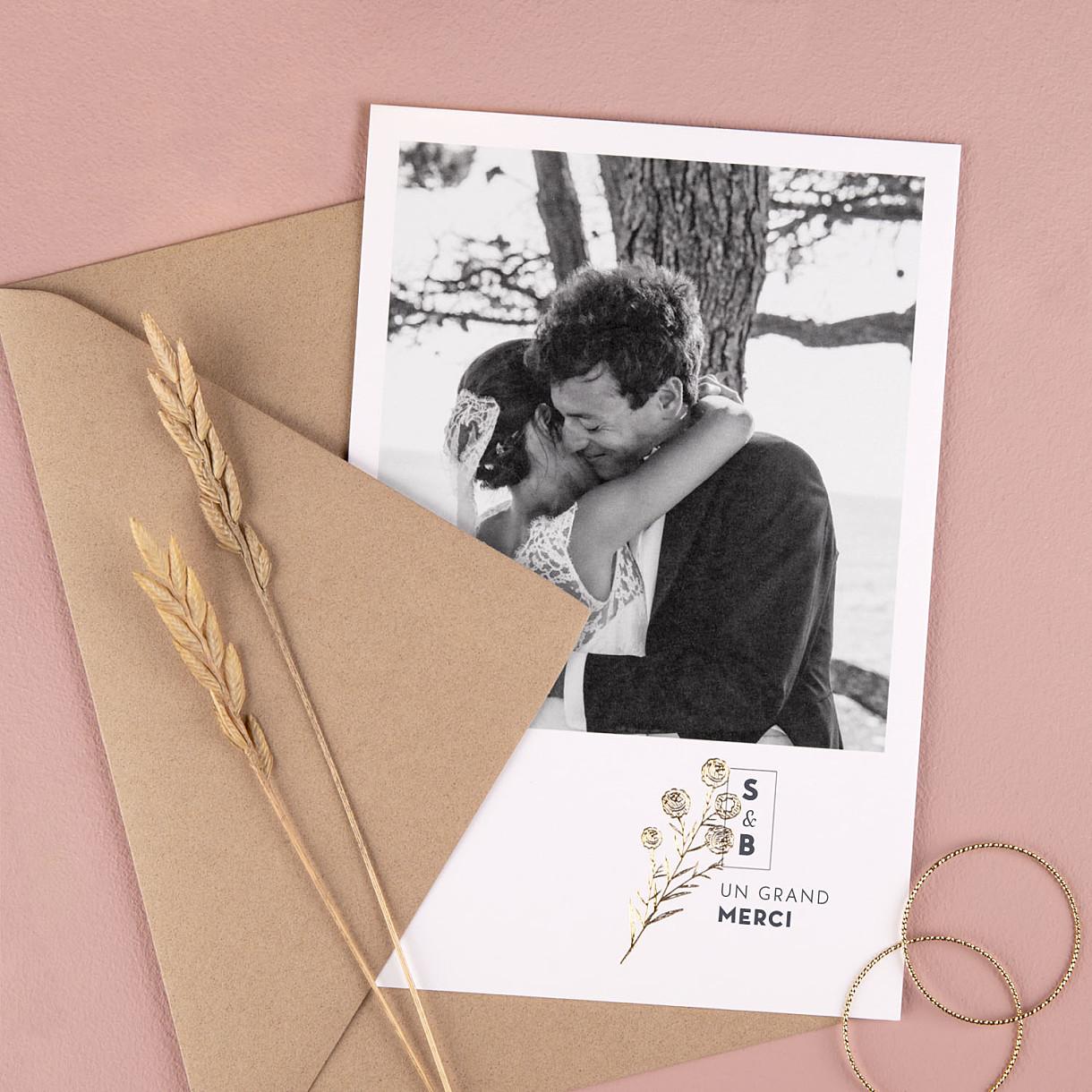 Carte remerciement mariage diy