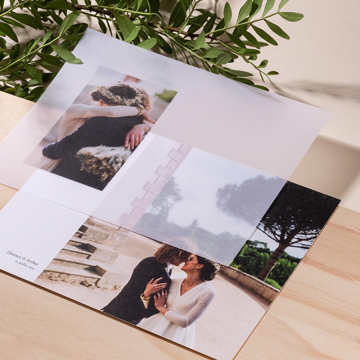 Carte de remerciement mariage sobre