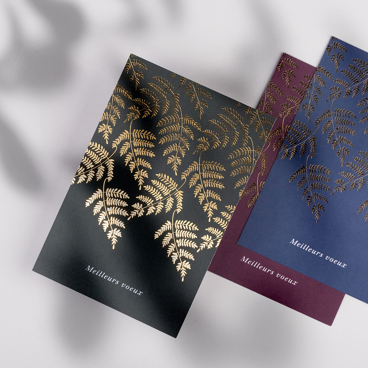 Carte de voeux joli sous-bois (dorure)