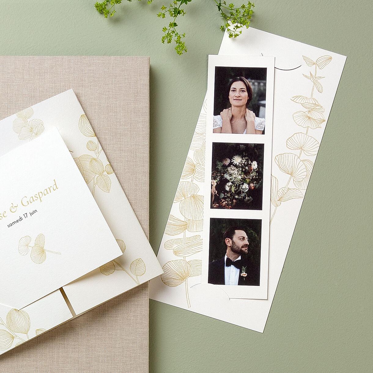 Carte de remerciement mariage envolée d'eucalyptus